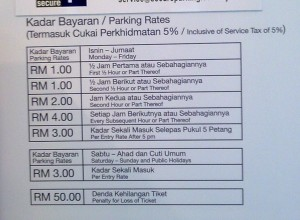 Parking Rate Card
